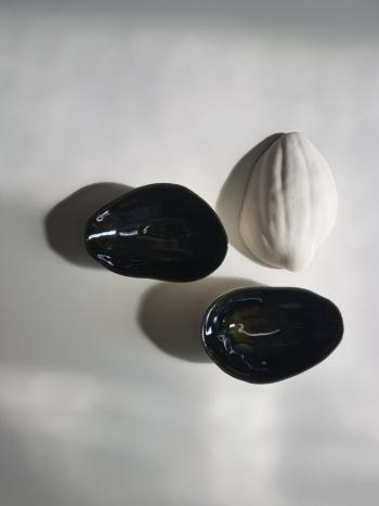 Metallic black mirror shell dish