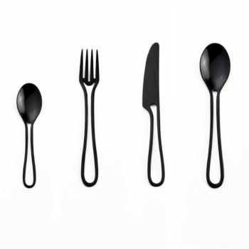 Outline cutlery black glossy 24 pieces dining set