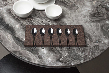 Outline cutlery glossy black 6 espresso spoons