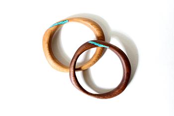 Altered Turquoise Bangle Walnut