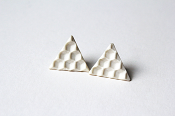 Honeycone Porcelain Triangle Earrings
