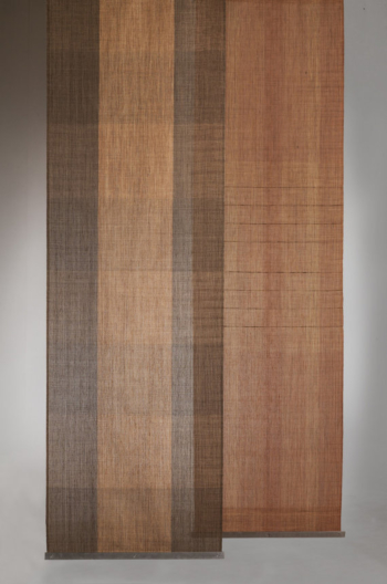 CORTEZAS, kakishibu, persimmon dyed wallhanging / room divider. HANDWOVEN