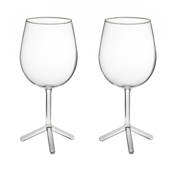 2 LOUISE red wine tripod glasses