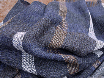 The Blue Hour - striped scarf in babyalpaca in blue, light grey and chocolate. HANDWOVEN
