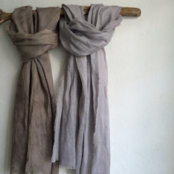 Nebulosa scarve - logwood dyed linen