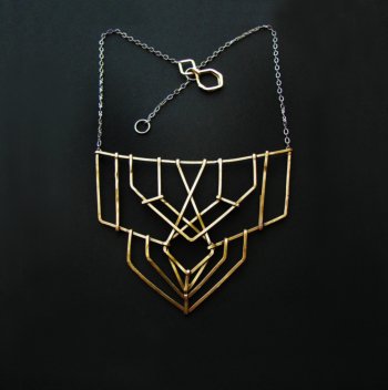 Brass Truss Bridge Star Necklace  - Inspired by Spider webs and Truss Bridges