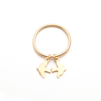 Gold Dickie Bird Charm Stacker Ring