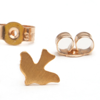 Gold Dickie Bird Charm Stud Earrings
