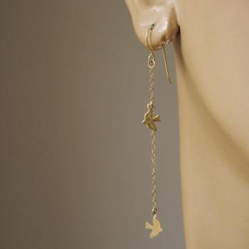 Gold Dickie Bird Charm Drop Earrings