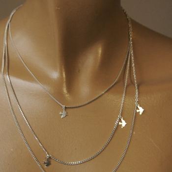 Gold Dickie Bird Long Wrap Around Charm Necklace