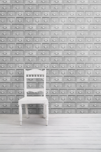Almost White Industrial Drawers Wallpaper