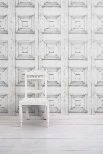 Almost White Victorian Panelling Wallpaper
