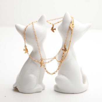 Gold Dickie Bird Layered Charm Bracelet