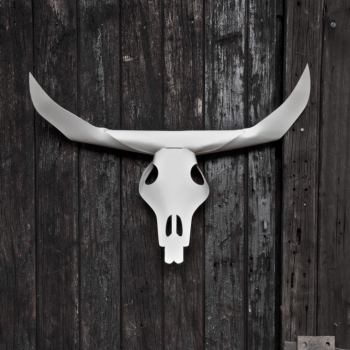 White 'Bison' leather stag head skull