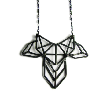 Geometric Necklace - Art Deco Revival Necklace - Inspired by Armatures of Bridge Structures and the contour of an Ivy leaf