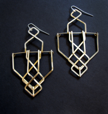 Architectural Truss Structure Earrings - Brass - Art Deco Revival