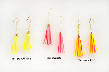 staRef Comet earrings : Yellow×Pink