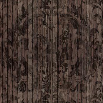 Dark Driftwood Damask Wallpaper