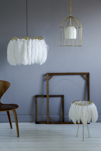 Feather Table Lamp White