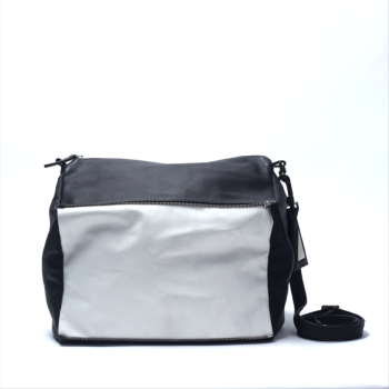 transformable shoulder bag (black with white)