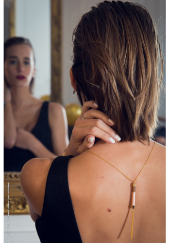 Dancer in the Dark - Long Necklace - Rose Quartz