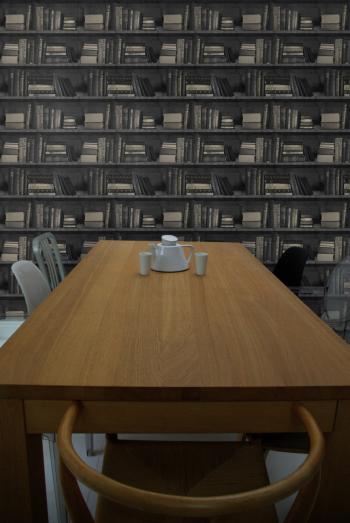 Dark Bookcase Wallpaper