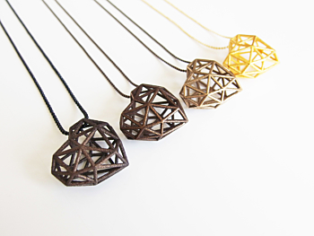 3D Printed Heart Necklace - Gold Steel