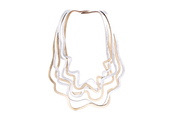 NEW! Iskin Curves Duo Large Necklace - Two Layers of Leather - Laser Cut - Contemporary Jewelry