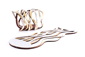 Iskin Curves Duo Bracelet - 2 layers of Leather - Contemporary Jewelry