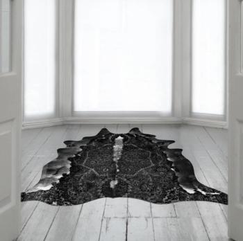 Black Cowhide Persian Rug