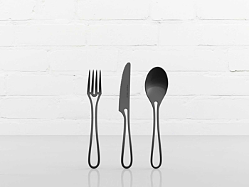 Outline kids cutlery black glossy finish