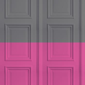 Grey / Rose Panelling Wallpaper