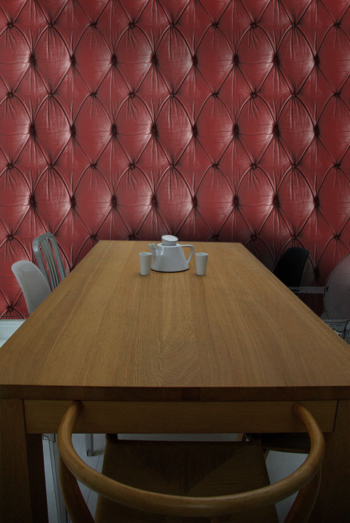 Red Chesterfield Button Back Wallpaper