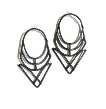 Hathor Earrings - Black Copper Finish - handmade jewelry - Geometric Earrings - made in Austin, Tx