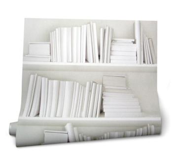 White Bookshelf Wallpaper