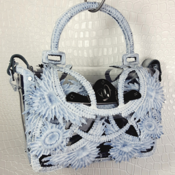 PRINTED HANDBAG ICE BLUE