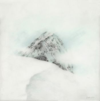 """Mount Denali,"" graphite, colored pencil, resin on panel"