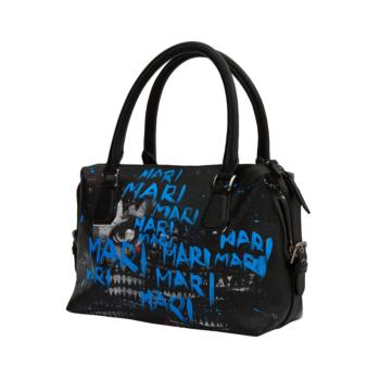 [MARI MARI] Blue Lettering Hand-painted Tote Bag