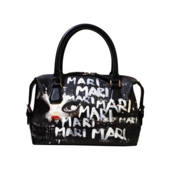 [MARI MARI] White Lettering Hand-painted Tote Bag