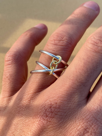 Gold Chained Spiral Ring
