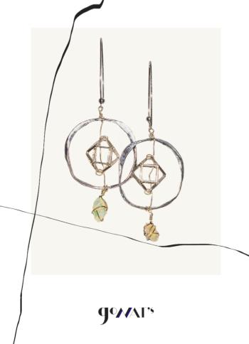 Upala Sterling Silver Earrings with Australian Raw Opal