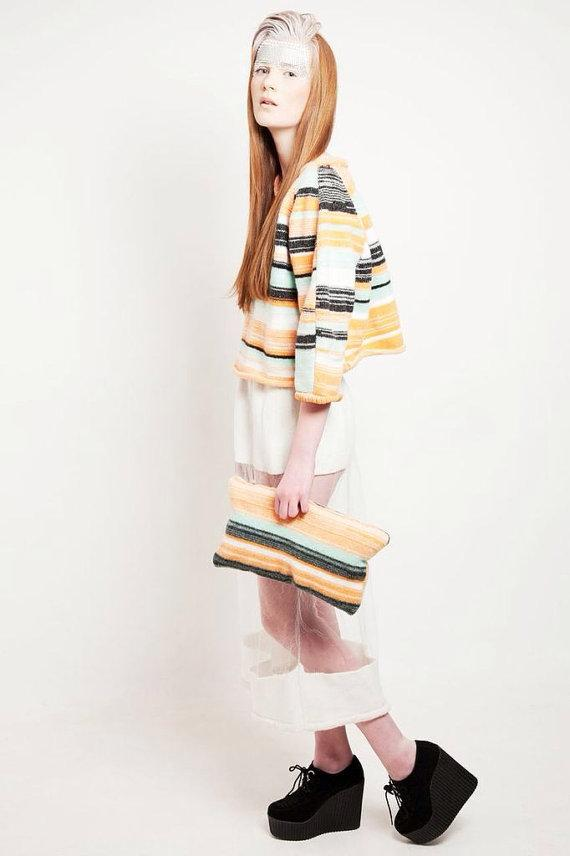 Orange & mint knitted graphic striped cropped jumper/ sweater